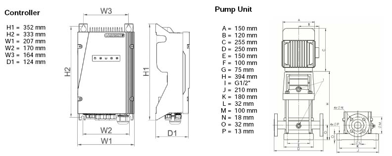 Dimensi Pompa Air Tenaga Surya Lorentz PS2-600 CS-F3-7