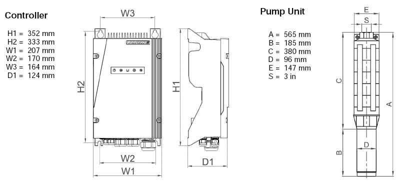 Dimensi Pompa Air Tenaga Surya (PATS) Lorentz PS2-1800 C-SJ42-1