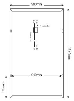Dimensi Panel Surya SP200-36P