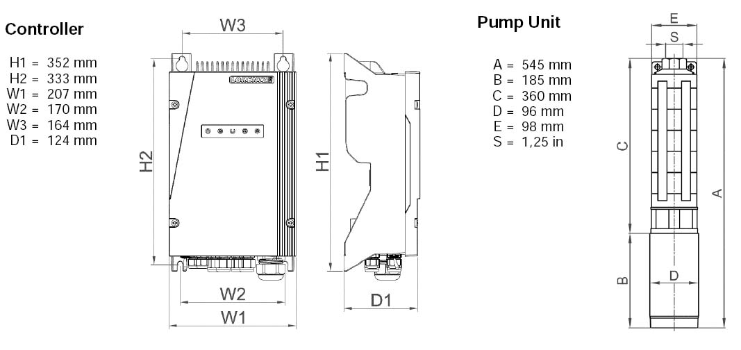Dimensi Pompa Air Tenaga Surya Lorentz PS2-600 C-SJ3-9