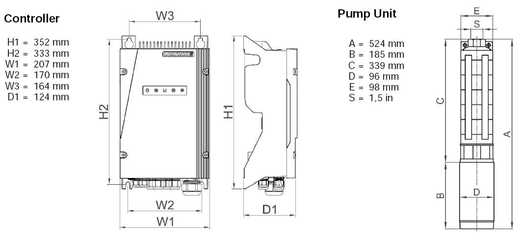 Dimensi Pompa Air Tenaga Surya Lorentz PS2-600 C-SJ5-8