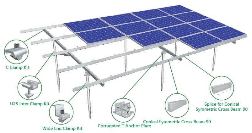 Rangka Panel Surya MRac Pro Ground Terrace PGT5