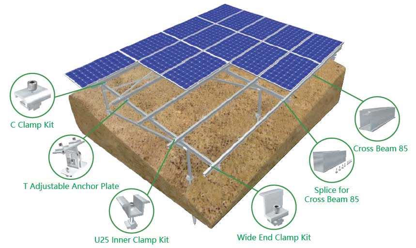 Bracket mounting modul panel surya MRac Hillside Ground Terrace