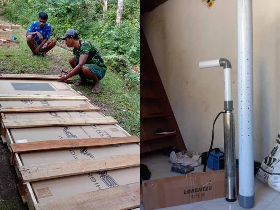 pemasangan pompa air submersible lorentz dan panel surya di Saparua, Maluku Tengah, Ambon