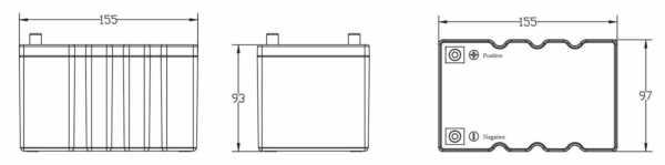 Dimensi baterai LiFePO4 12V 17Ah