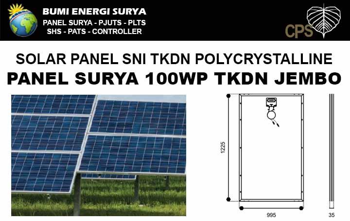Panel surya 100WP TKDN polycrystalline Jembo