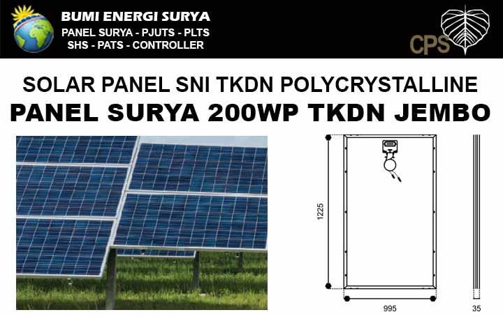 Panel surya 200WP TKDN polycrystalline Jembo