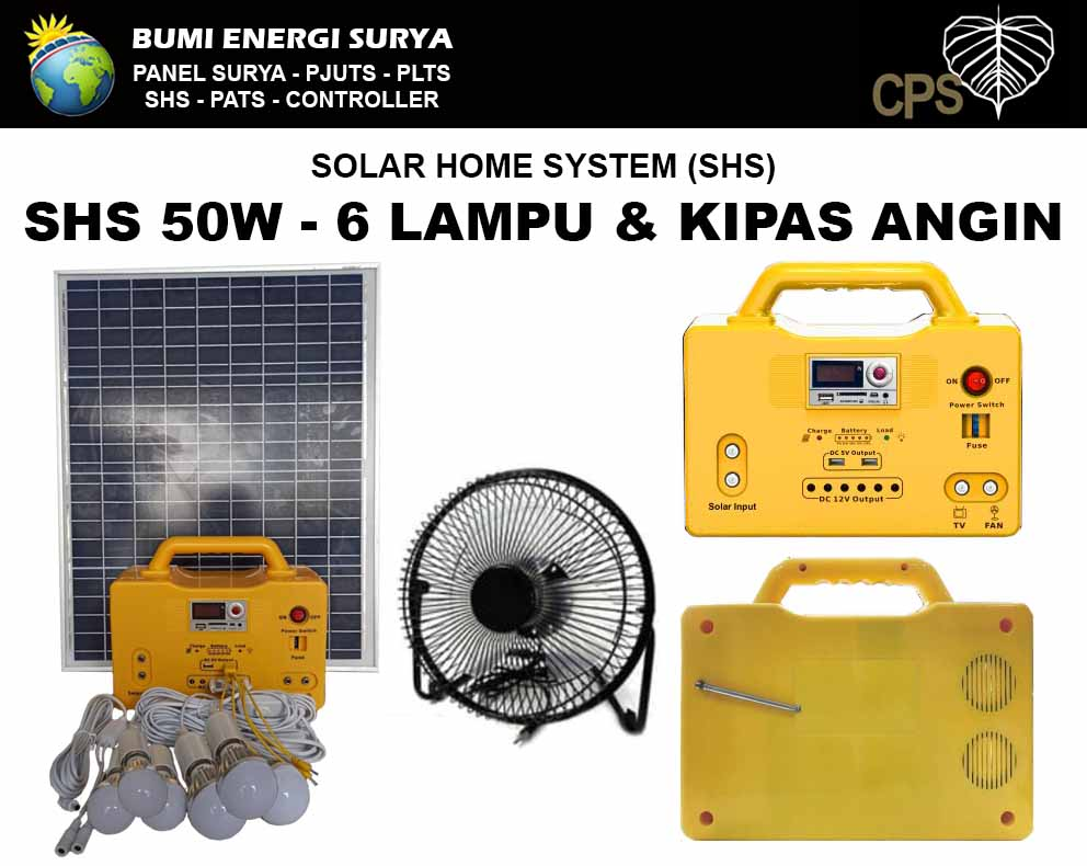 solar home system 50w dengan 6 lampu dan kipas angin